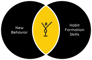 new behavior and new habit forming skills diagram to represent happy life